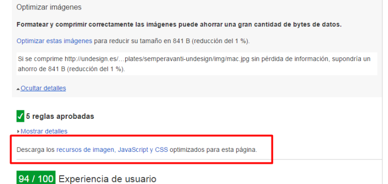 Descargar recursos optimizados de PageSpeed